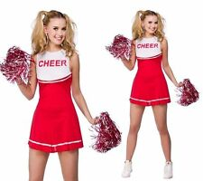 HIGH SCHOOL CHEERLEADER GIRL UNIFORM Costume OUTFIT With POM POMS FANCY DRESS.