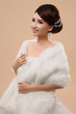 Winter Women Faux Fur Warm Wrap Shrug Bolero Ivory Bridal Wedding Shawl Cape New