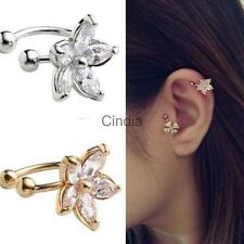 Fashion Flower Silver Gold Wrap Ear Cuff Earring Cartilage Clip On No Piercing
