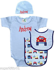 Personalized Baby Boy Light Blue Trucks Onezee, Bib, Burp Cloth & Hat Free Ship