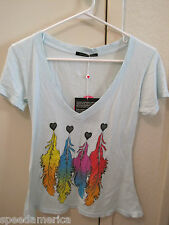 NWT Wildfox Couture Light Blue Heart Rainbow Feather V Neck Tee T Shirt M $78