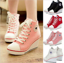 Women Girls High Top Lace Up Canvas Sneakers Platform Wedge Heel Sport New Shoes