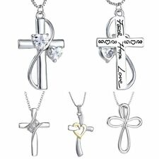 Cross Heart Crystal Women Men Necklace Pendant Chain Silver Jewelry Vintage Gift