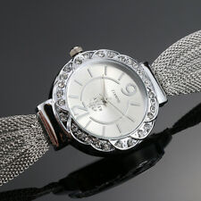 Women Bangle Bracelets Stainless Steel Crystal Dial Analog Quartz Wrist Watches