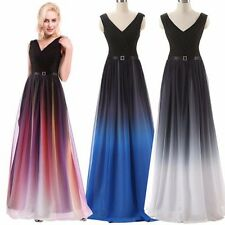 V-NECK Long Cocktail Evening FORMAL Party Gown Bridesmaid Prom Gradient Dress AS