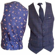 Men's Blue With Brown Check Tweed Style Slim Fit Waistcoat Vest Sizes 38 To 48