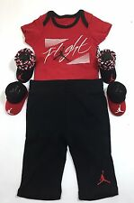 Air JORDAN BABY BOYS Outfit 4-Pc GIFT Set: Rompers, Pants, Booties RED 0-6 M