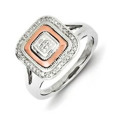 Sterling Silver & 14K Rose Gold .12 CT Square Diamond Ring 3.42 gr Size 6 to 8