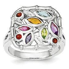 Sterling Silver Marquise & Round Multi-Color Gemstone Ring 5.00 gr Size 6 to 8