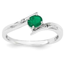 Sterling Silver Oval Emerald & 0.01 CT Diamond Ring 1.48 gr Size 6 to 8