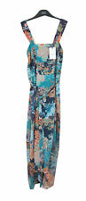 Marks & Spencer Floral Floaty Fully Lined Sleeveless Turquoise Blue Summer Dress