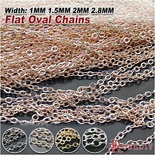 5 Meters Copper Flat Oval Shape Chains Necklace Chains Jewelry Findings 17979