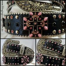 Ladies Black & Pink Embossed Black Genuine Leather Belt Cross Concho #Cowgirl