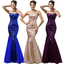 Long Sequins Bridesmaids Wedding Evening Formal Cocktail Party Mermaid Dresses