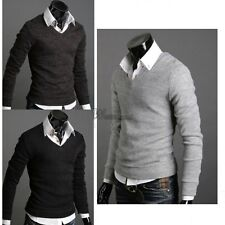 Men Tops Slim Fit Casual Sweater Gray Knitted Korean Solid Jumper Cardigan