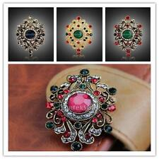 Elegant Women Vintage Jewelry Flower Diamante Crystal Rhinestone Brooch Pin Gold