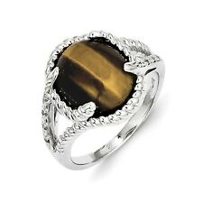 Sterling Silver Tigers Eye & 0.04 CT Diamond Cabochon Ring 4.57 gr Size 6 to 9