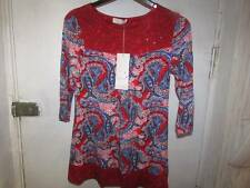 SIZE 12 RED MIX PER UNA STRETCH TUNIC STYLE TOP MARKS AND SPENCER