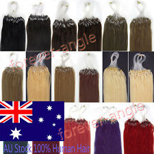 """18"""" 20"""" 22"""" Remy Human Hair Extensions Micro Ring Beads Easy Loop Tip Hair 7A AU"""