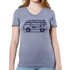 "VW Surf Bus Graphic printed on Women's ""Junior Size"" American Apparel T-shirt"