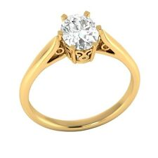 1.25 ct D/VVS1 Simulated Diamond Solitaire Wedding Engagement Ring Solid Gold