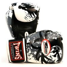Twins White Tribal Dragon Muay Thai Boxing Gloves Leather Sparring MMA