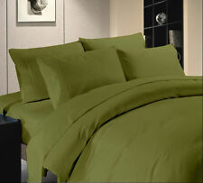 Egyptian Cotton 800 1000 TC Moss Solid & Striped US Bedding Set's All Size