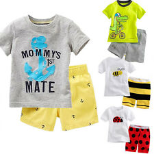 Toddler Boys Kids Summer Clothes Short Sleeve T-shirt Top Tee Shorts Outfit Set