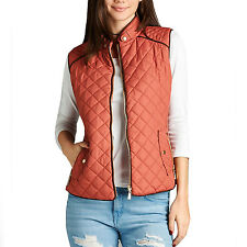 Fashionazzle Women's Lightweight Suede Contrast Quilted Zip Up Vest Brown