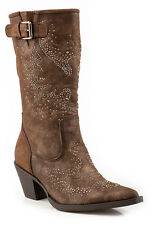 Roper Womens Cowboy Boots Brown Faux Leather Suede 13in Snip Toe Crystals