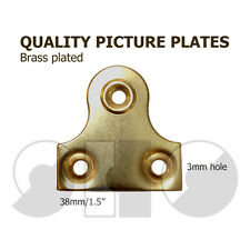"Picture Plate Plain 38mm / 1.1/2"" Brass Plated Mirror Plate 2/4/6/10"