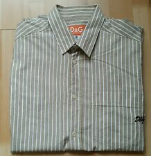 Men's D&G Dolce & Gabbana Grey & white Stripe Shirt  Size 26/50 Authentic 100%