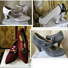 Ladies 1920s Style Shoes Black, Green, Red, Brown and Burgundy Sizes 5 1/2- to 8