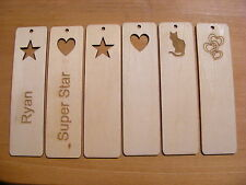 BOOKMARK LOVE HEART STAR CAT WOODEN ENGRAVED PERSONALISED NAME XMAS PRESENT GIFT
