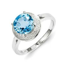 Sterling Silver Round Blue Topaz & .01 CT Diamond Ring 2.45 gr Size 6 to 9