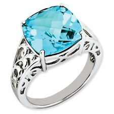 Sterling Silver Rounded Square Cut Blue Topaz Ring 3.15 gr Size 5 to 10