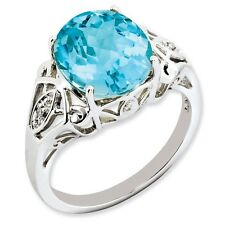 Sterling Silver Round Blue Topaz & .02 CT Diamond Ring 2.48 gr Size 5 to 10