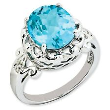 Sterling Silver Round Blue Topaz & .01 CT Diamond Ring 3.15 gr Size 5 to 10