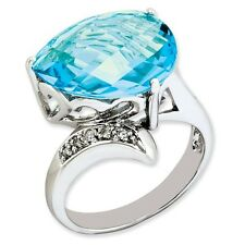 Sterling Silver Pear Cut Blue Topaz & .05 CT Diamond Ring 4.00 gr Size 5 to 10