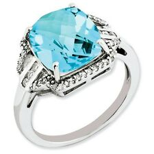 Sterling Silver Square Blue Topaz & .20 CT Diamond Ring 2.16 gr Size 5 to 10
