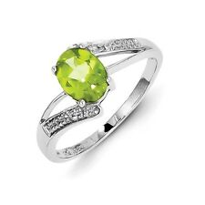 Sterling Silver Oval Cut Peridot & .01 CT Diamond Ring 1.75 gr Size 6 to 8