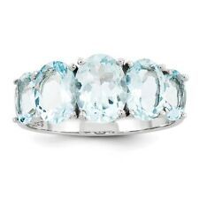 Sterling Silver Oval Cut Five Stone Aquamarine Ring 1.82 gr Size 6 to 8