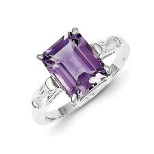 Sterling Silver Princess Cut Amethyst Ring 2.48 gr Size 6 to 8