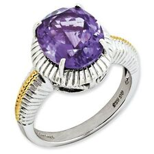 Sterling Silver & Gold-Plated Round Cut Amethyst Ring 3.74 gr Size 5 to 10