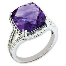 Sterling Silver Square Faceted Amethyst Ring 4.22 gr Size 5 to 10