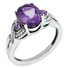 Sterling Silver Oval Three Stone Amethyst & .10 CT Diamond Ring Size 5 to 10