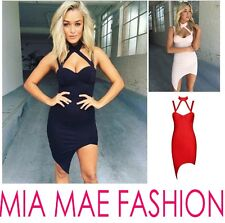 WOMENS CELEBRITY TIGHT BANDAGE HALTER NECK SIDE CURVED BODYCON DRESS