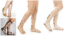 New Womens Knee High Lace Up Strappy Gladiator Open Toe Flat Zipper Sandals Shoe