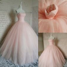 Pink Wedding Dress Sweetheart Backless Beads Bridal Ball Gown Custom Made