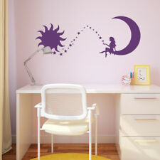 Fairy Girl Sitting on the Crescent Moon with Stars & Sun Vinyl Wall Decal K634